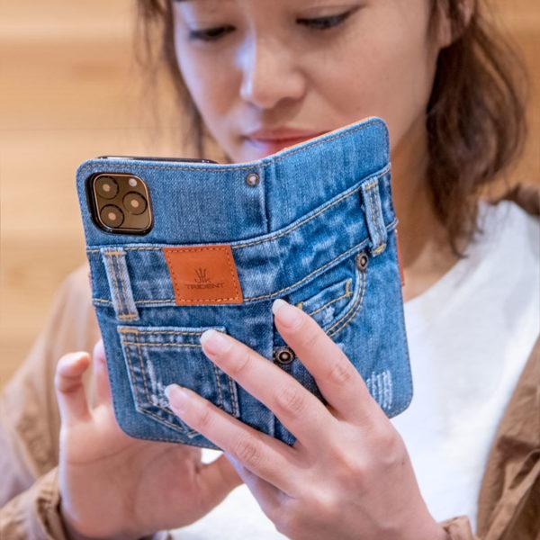 UK TridentデニムiPhone 12ケース 手帳型